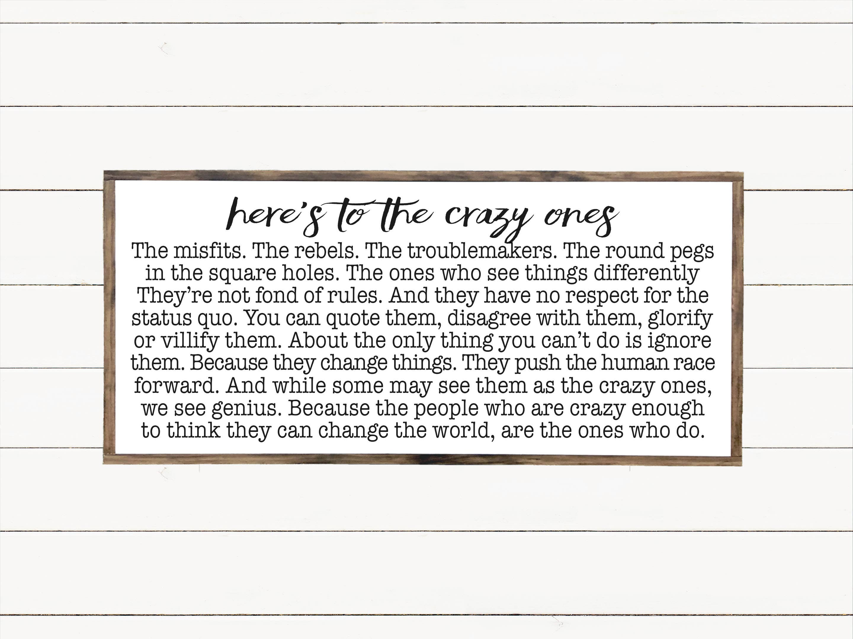 "9""x18"" Here's To The Crazy Ones Wood Sign"