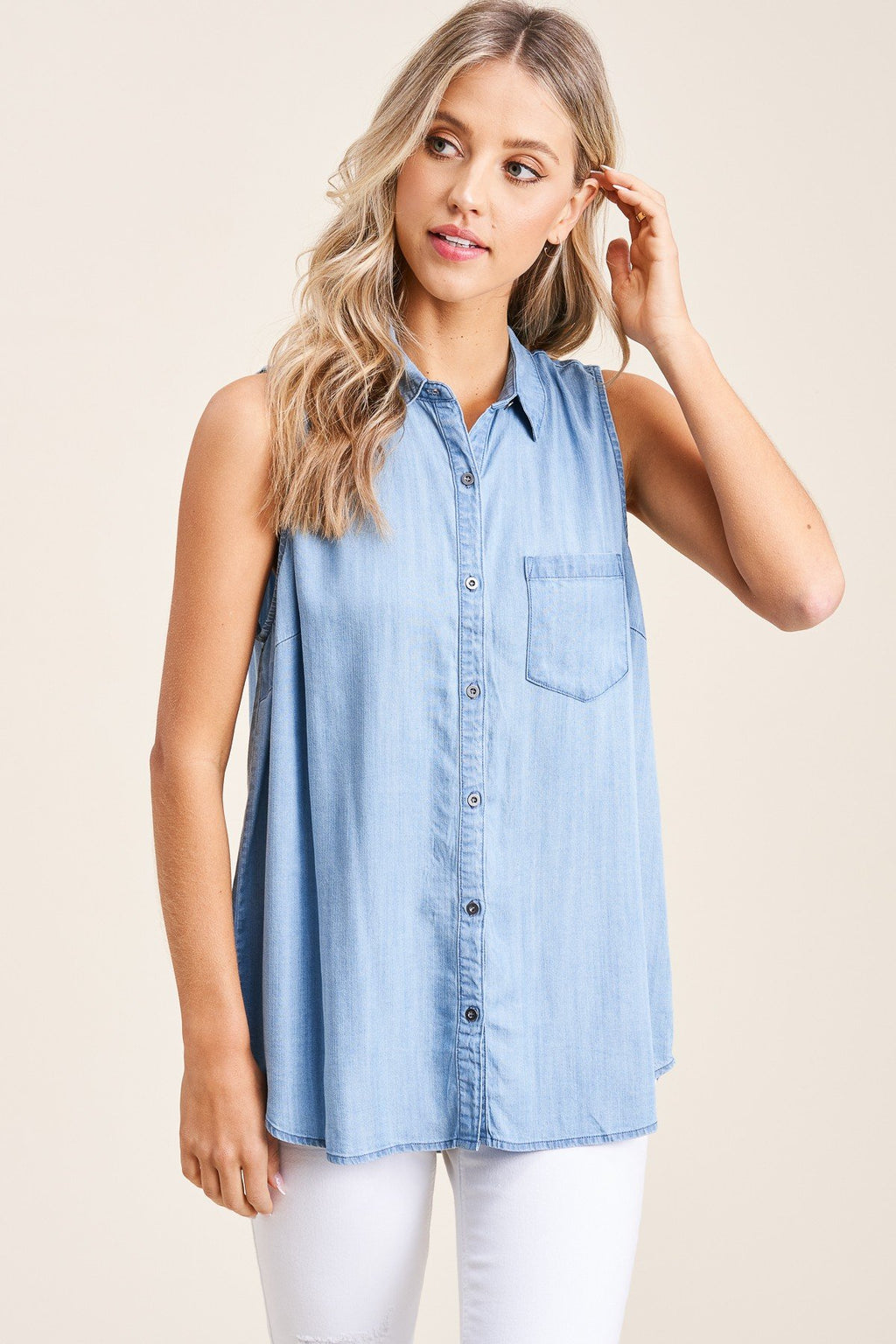 Adeline Short Sleeve Button Up Denim Top - Light