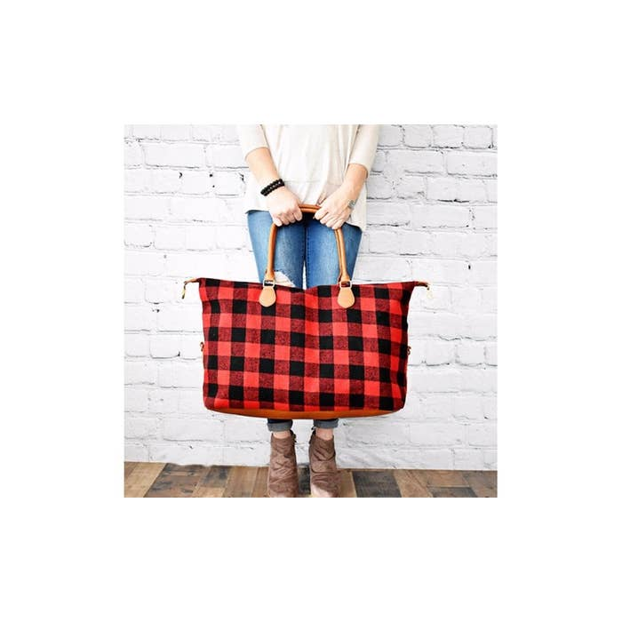 Buffalo Plaid Weekender Bag - Red