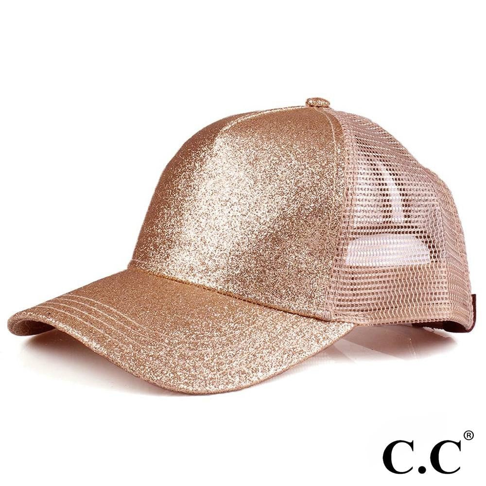 Glittery Trucker Cap with Mesh Back - Rose Gold