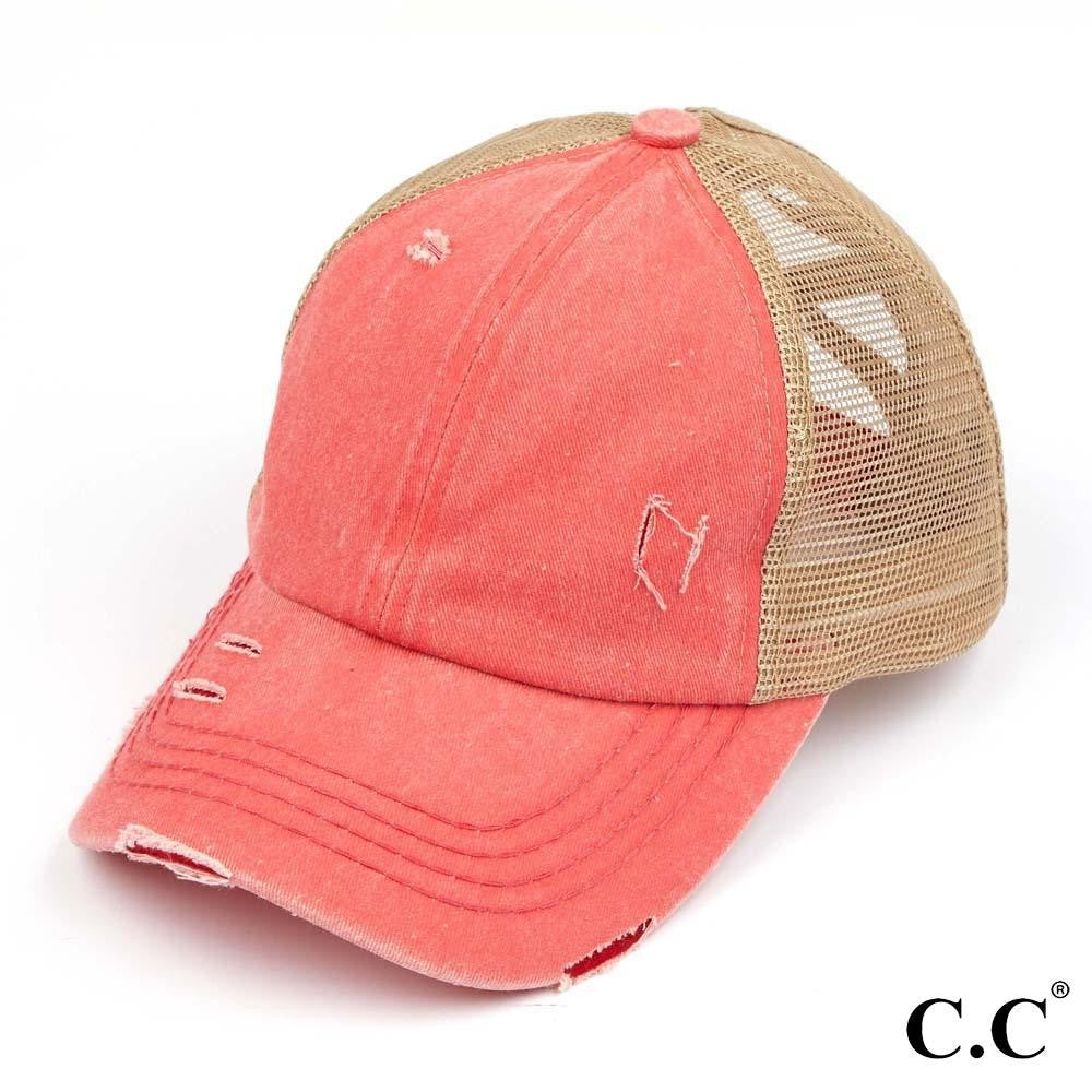 Distressed Criss Cross Pony Cap with Mesh Back - Coral