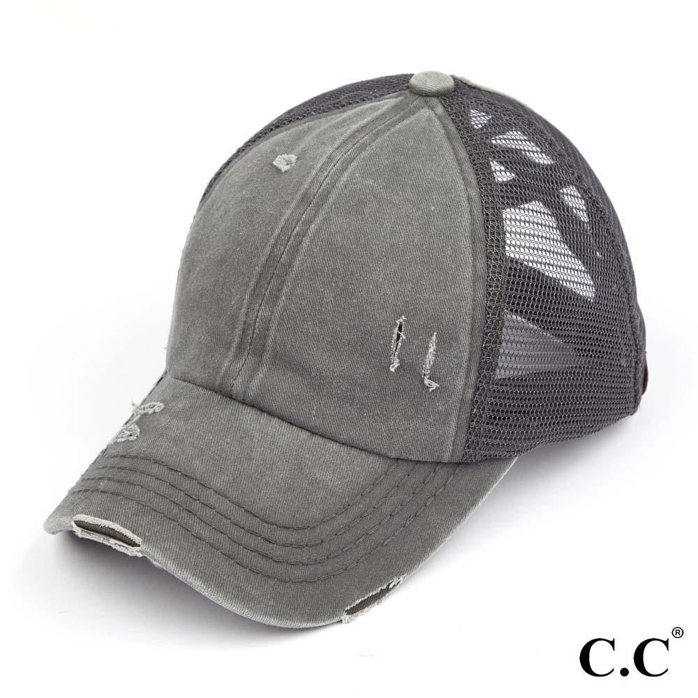 Distressed Criss Cross Pony Cap with Mesh Back - All Grey