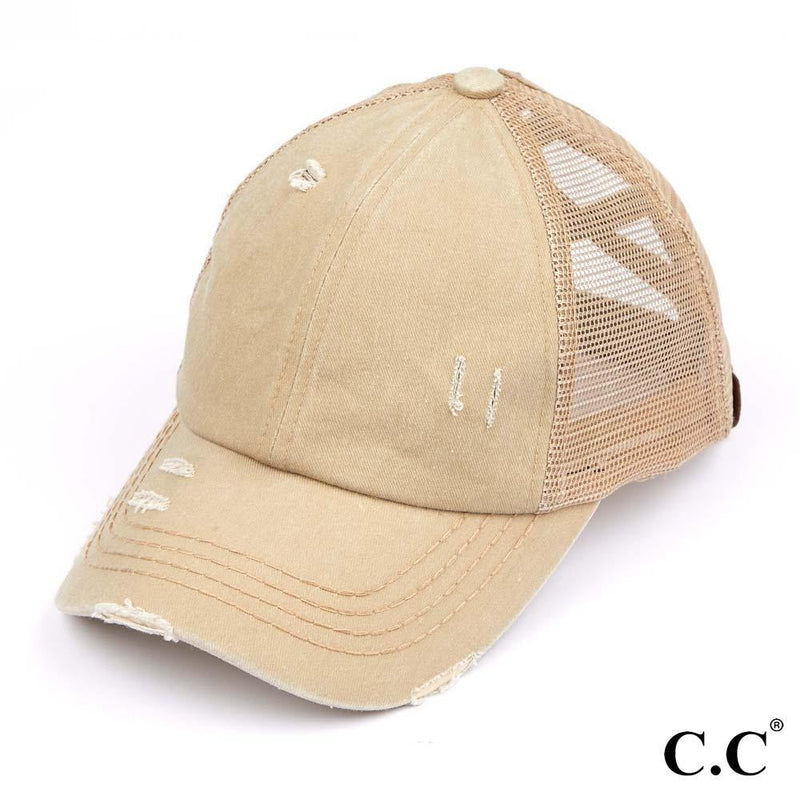 Distressed Criss Cross Pony Cap with Mesh Back - Khaki