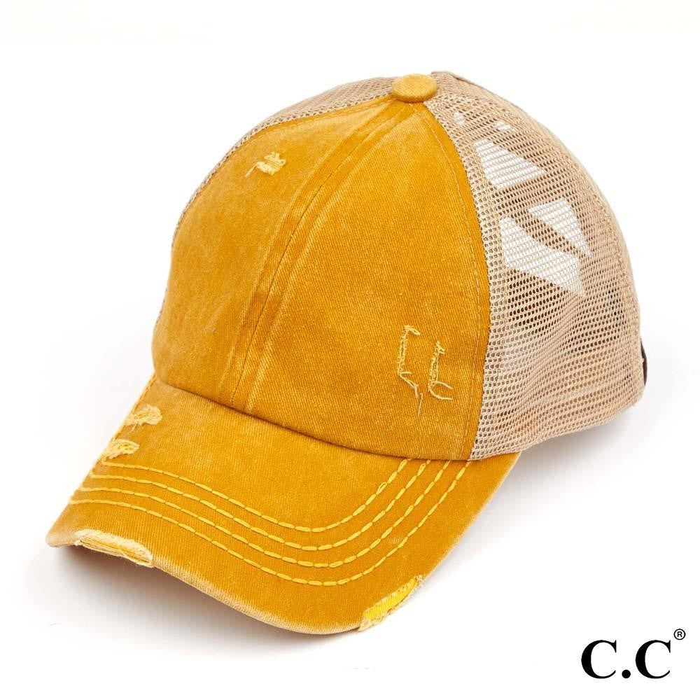 Distressed Criss Cross Pony Cap with Mesh Back - Mustard