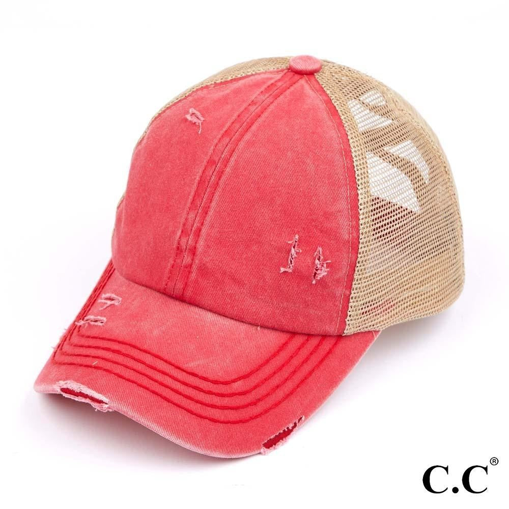 Distressed Criss Cross Pony Cap with Mesh Back - Red