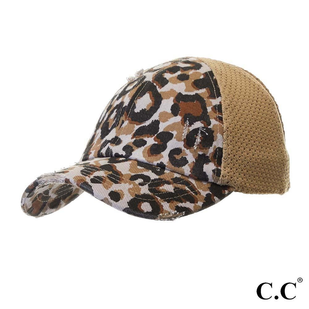 Leopard Print Distressed Baseball Cap with Knit Mesh Back - Tan