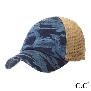 Distressed Camouflage Baseball Cap with Mesh Back - Navy