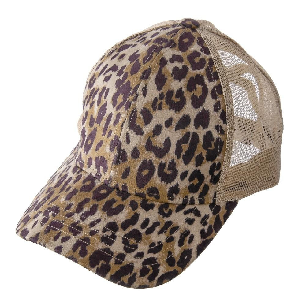 Distressed Criss Cross Pony Cap with Mesh Back - Cheetah
