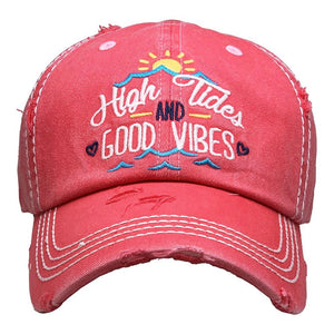 High Tides and Good Vibes Vintage Distressed Baseball Cap
