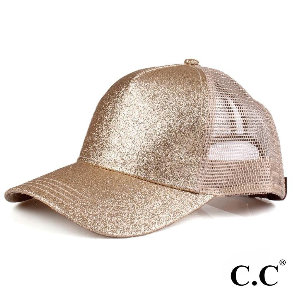 Glittery Trucker Cap with Mesh Back - Gold