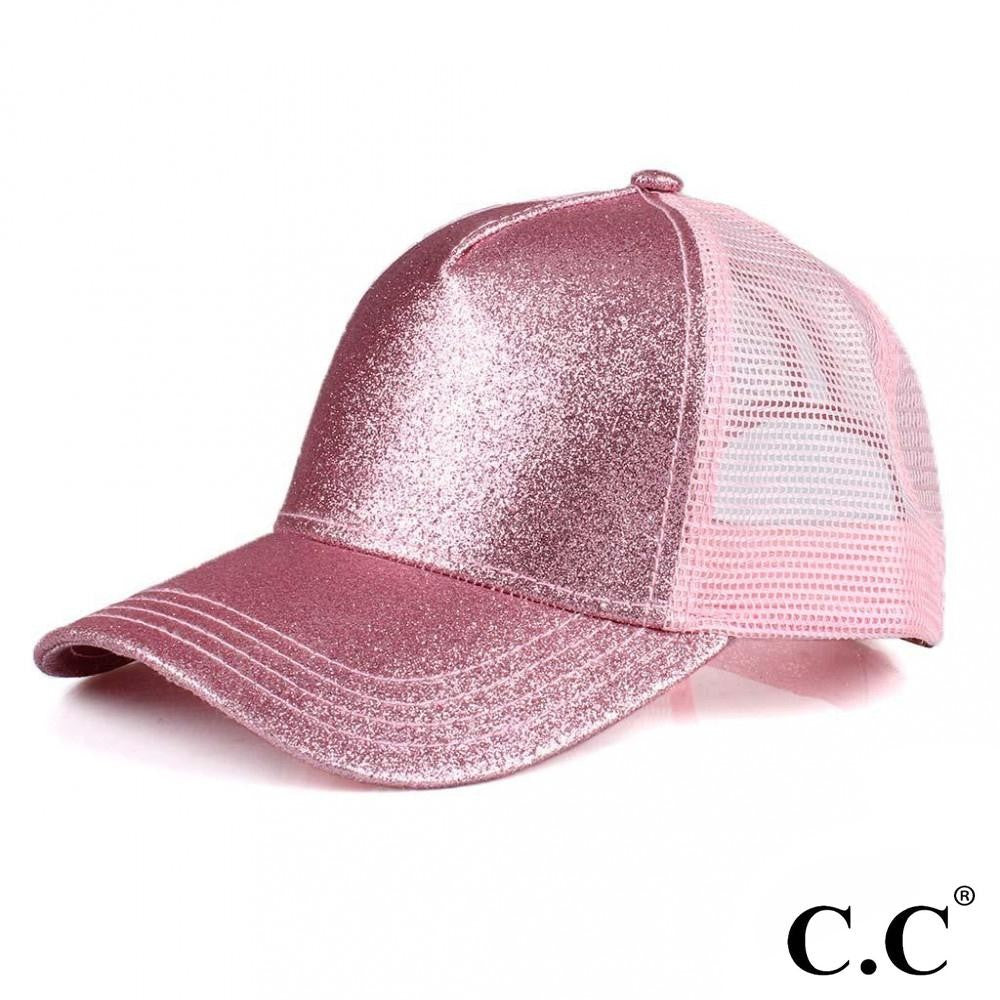 Glittery Trucker Cap with Mesh Back - Pink