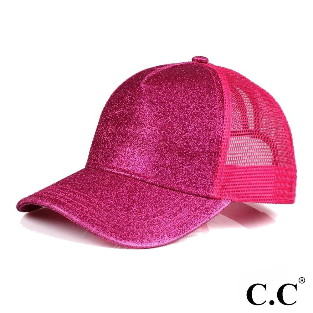 Glittery Trucker Cap with Mesh Back - Hot Pink