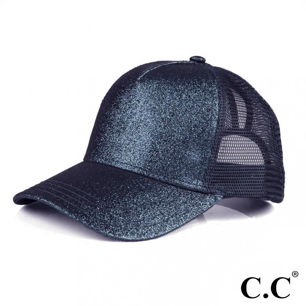 Glittery Trucker Cap with Mesh Back - Navy