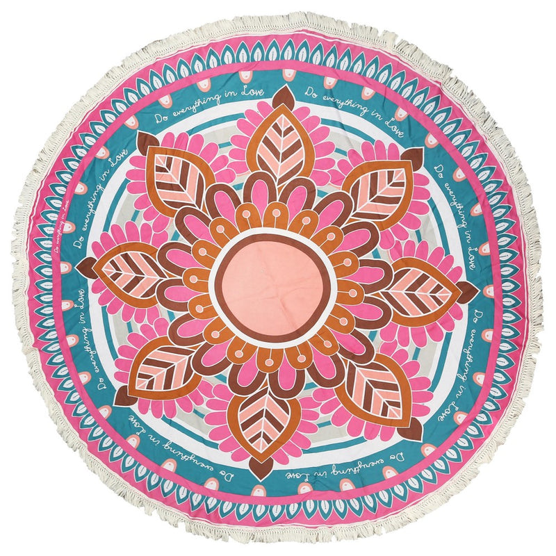 Multi Floral Print Round Beach Throw