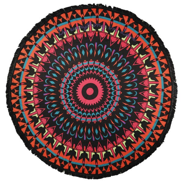 Black Multi Geometric Print Round Beach Throw