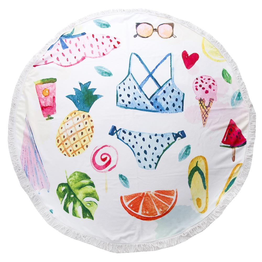 Sweet Summer Time Print Luxury Round Beach Towel