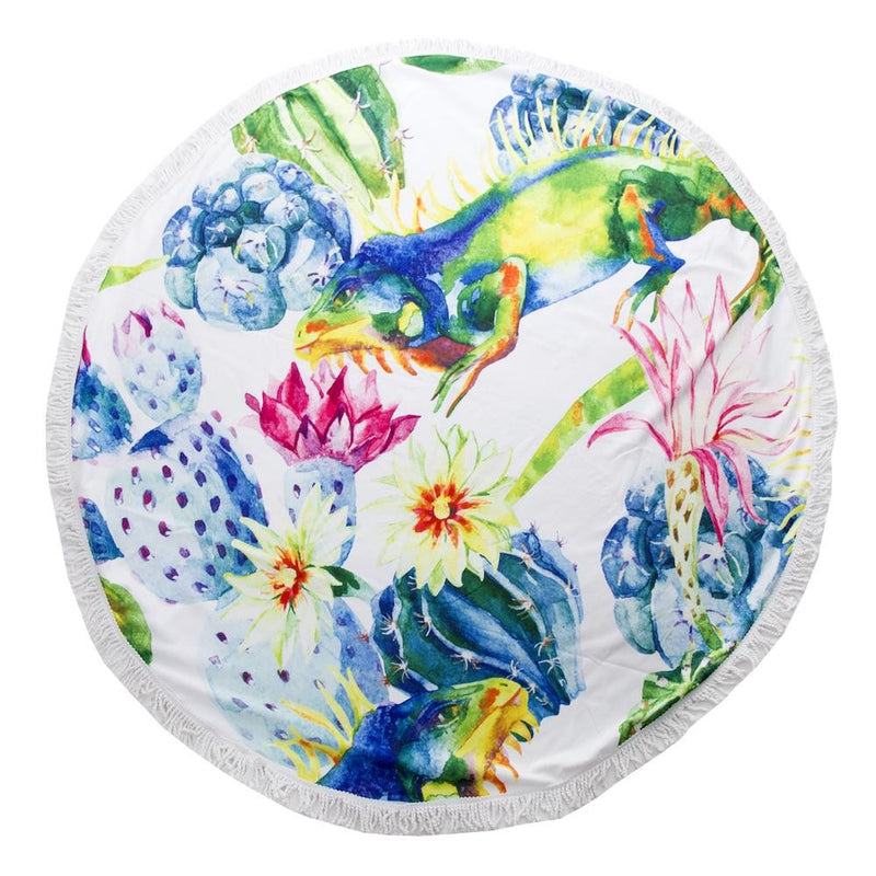 Multicolor Eguana Cactus Print Luxury Round Beach Towel