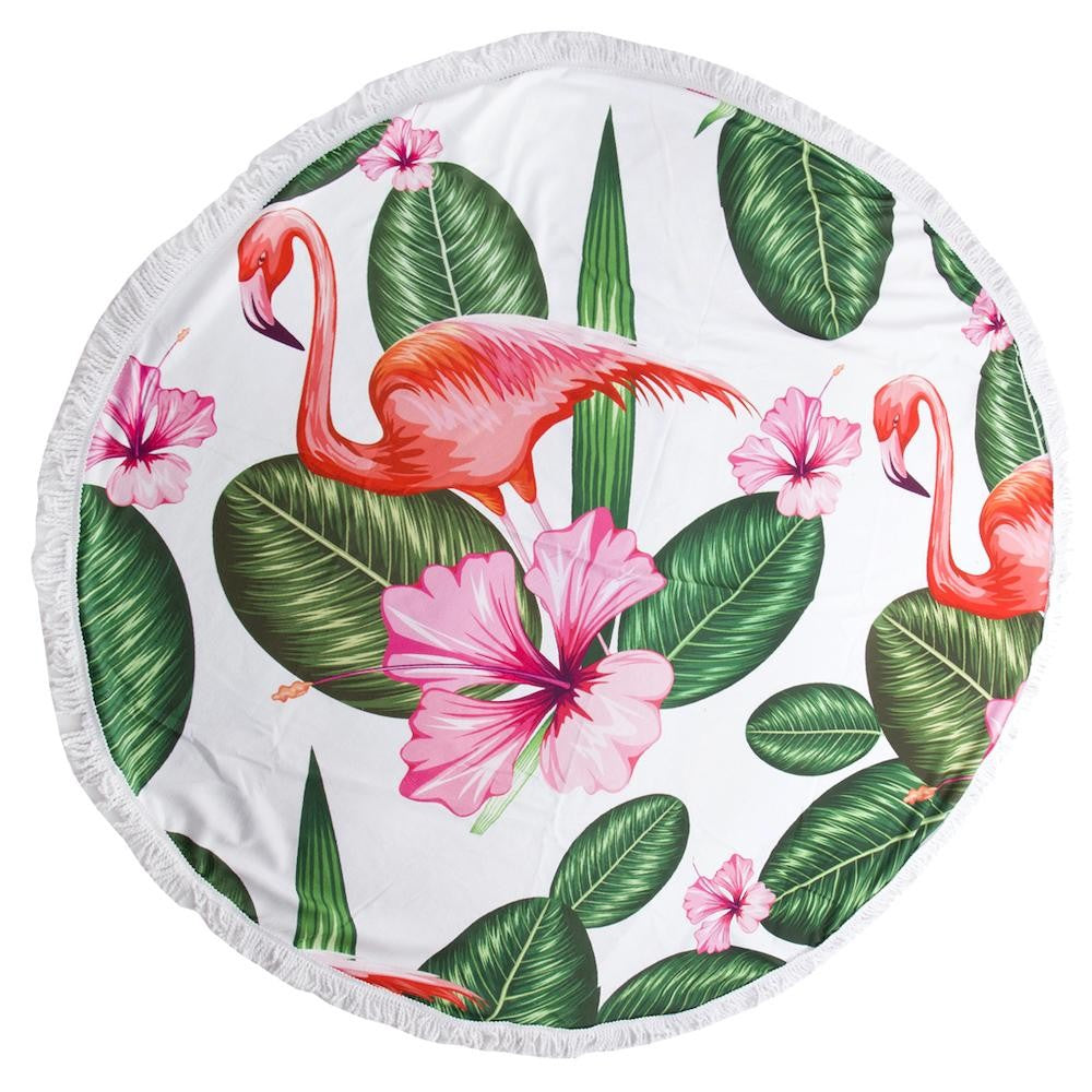 Tropical Hibiscus Flamingo Print Luxury Round Beach Towel