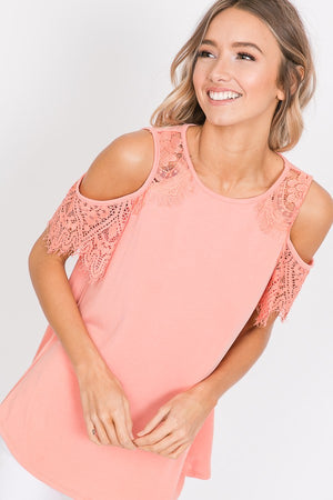 Serenity Lace Detail Cold Shoulder Top - Coral