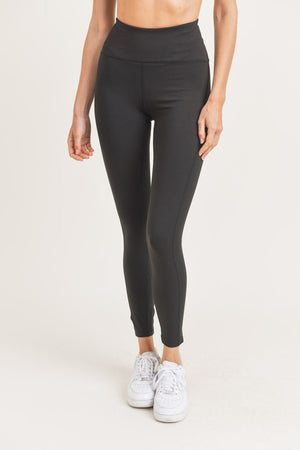 Abigail Solid Colored Athletic Leggings - Black