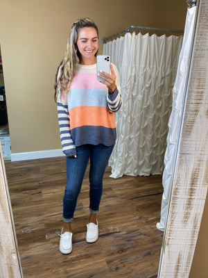 Annalise Multi Color Striped Lightweight Sweater