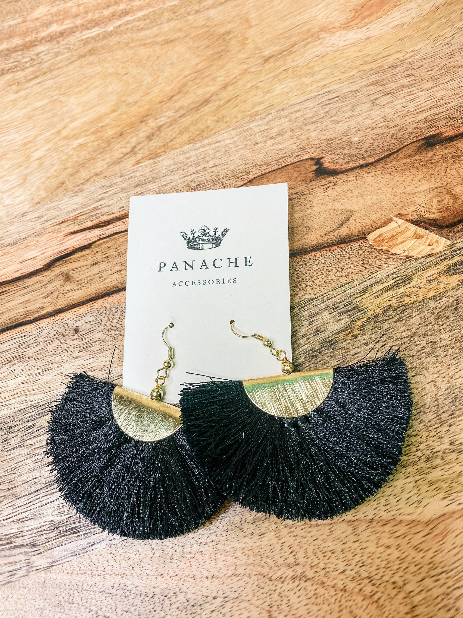 Aubrey Fringe Earrings - Black