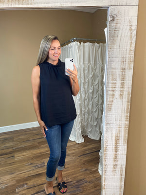 Kinsley Ruffle Neck Blouse - Black