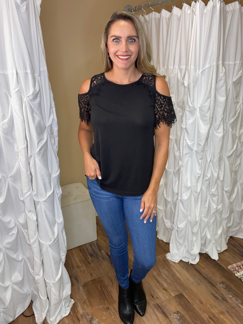 Serenity Lace Detail Cold Shoulder Top - Black
