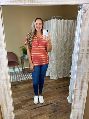 Palmer Boyfriend  Striped Tee with Pocket
