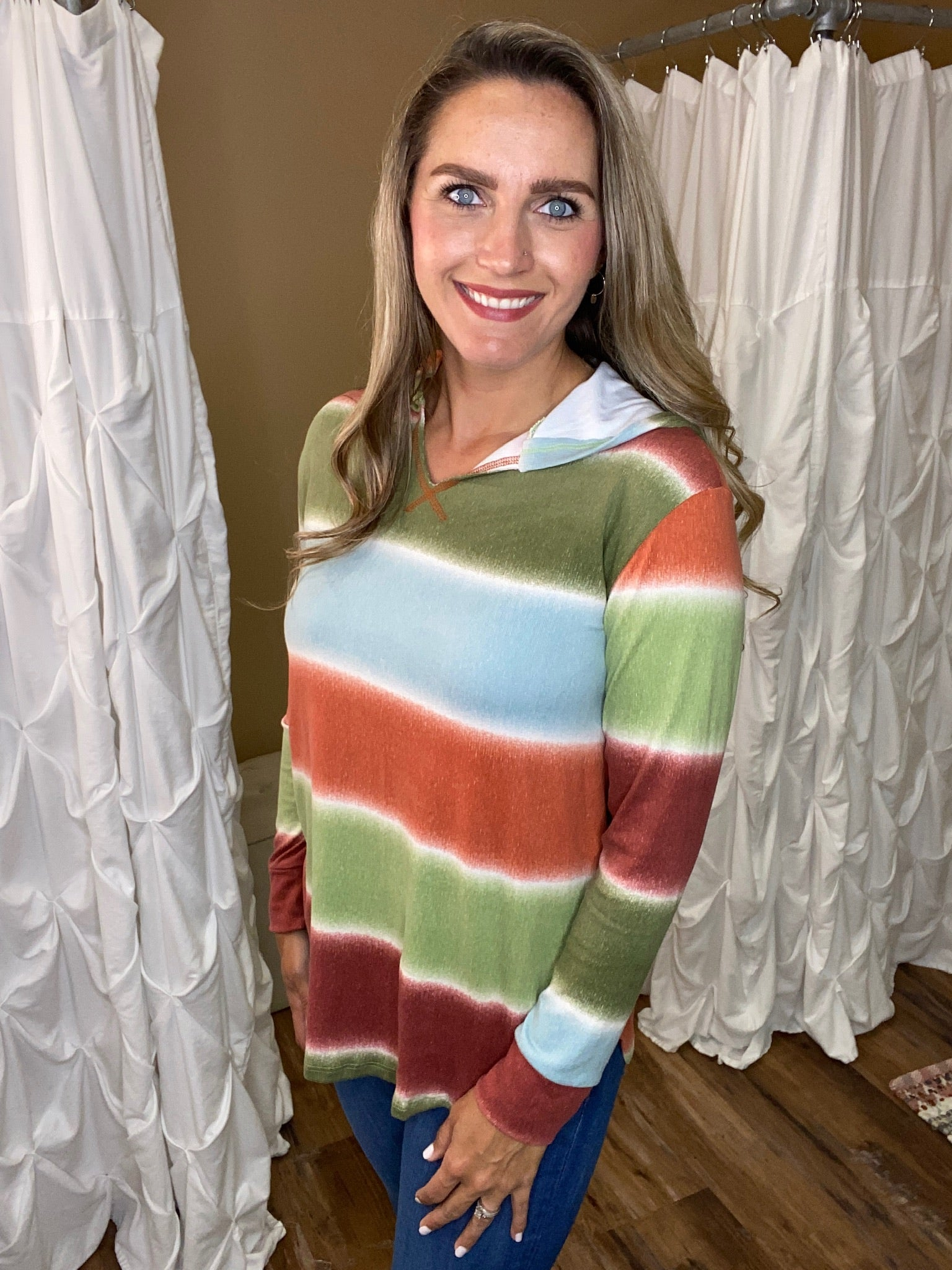 Kinsley Watercolor Striped Hoodie with Side Slit