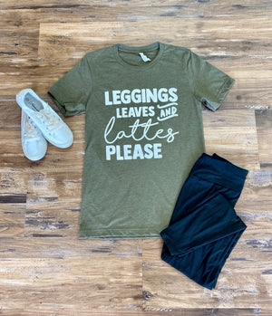 Leggings, Leaves and Lattes Graphic Tee