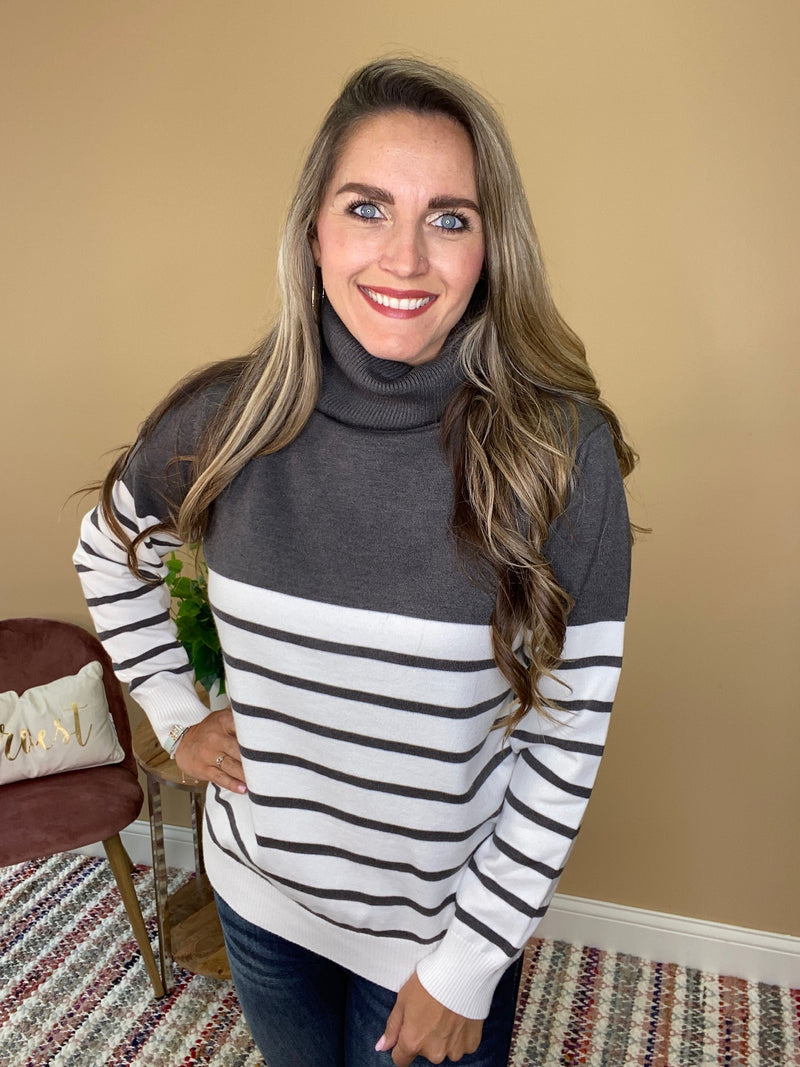 Amara Striped Turtle Neck Sweater - Grey