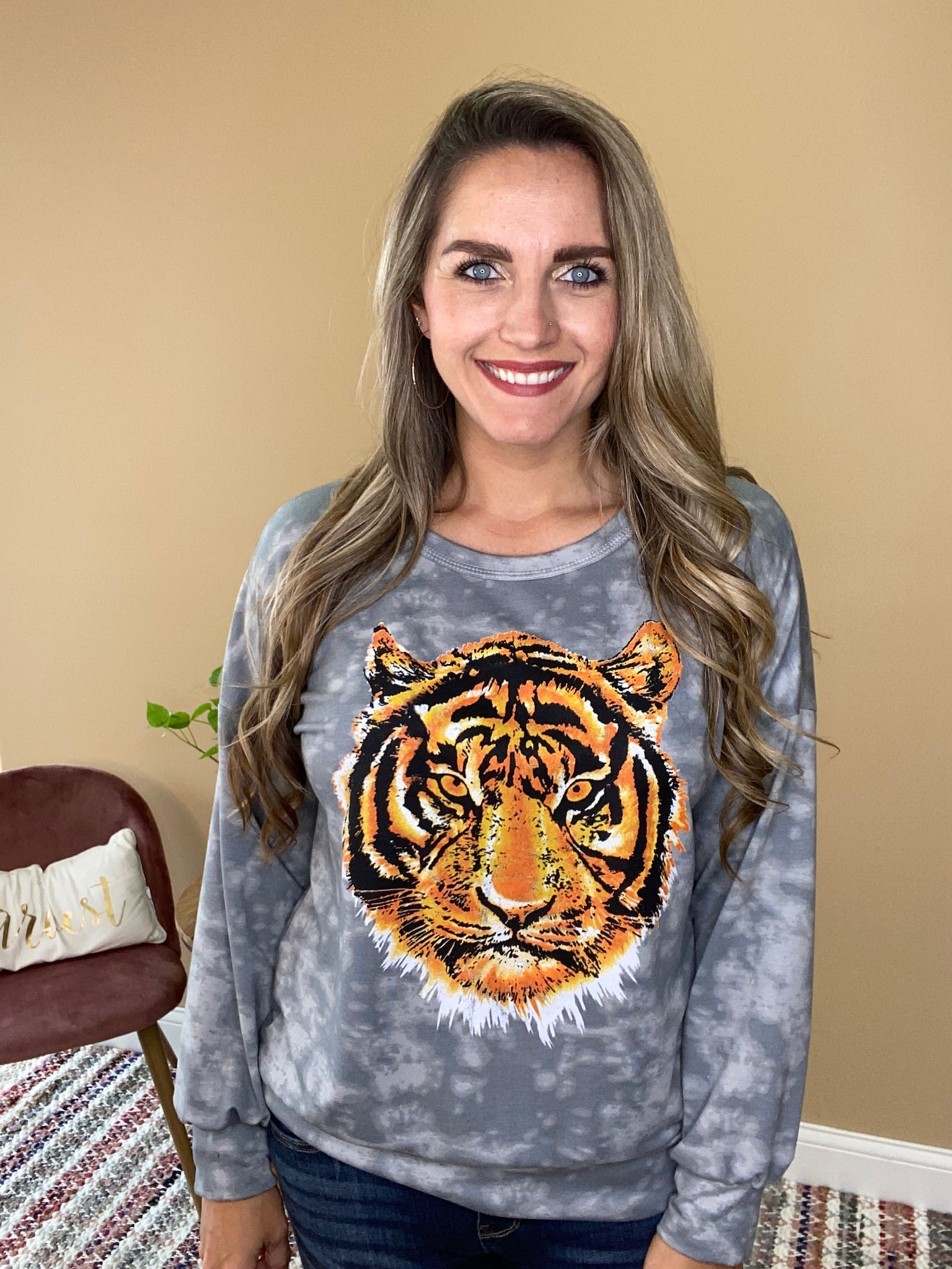 Joely Tiger Print Graphic Top