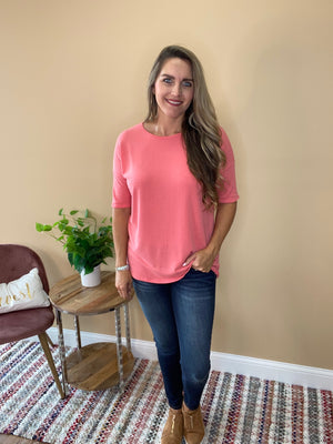 Elora Soft Jersey Knit Tunic - Light Coral