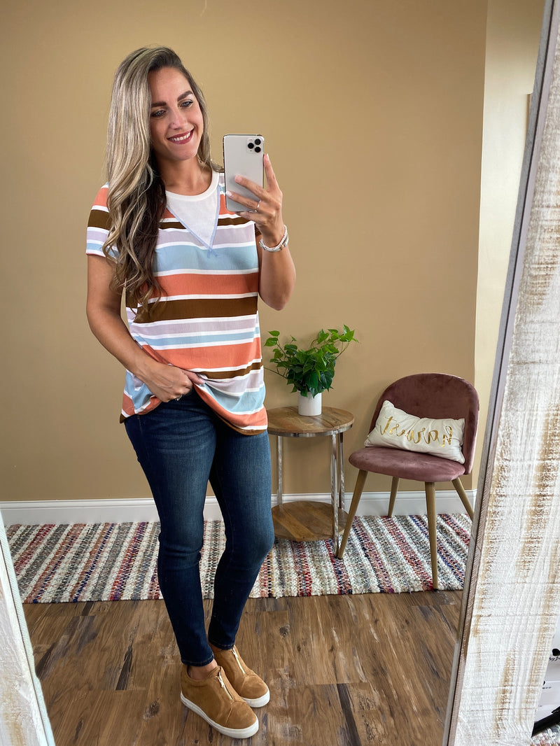 Autumn Striped Short Sleeve Top