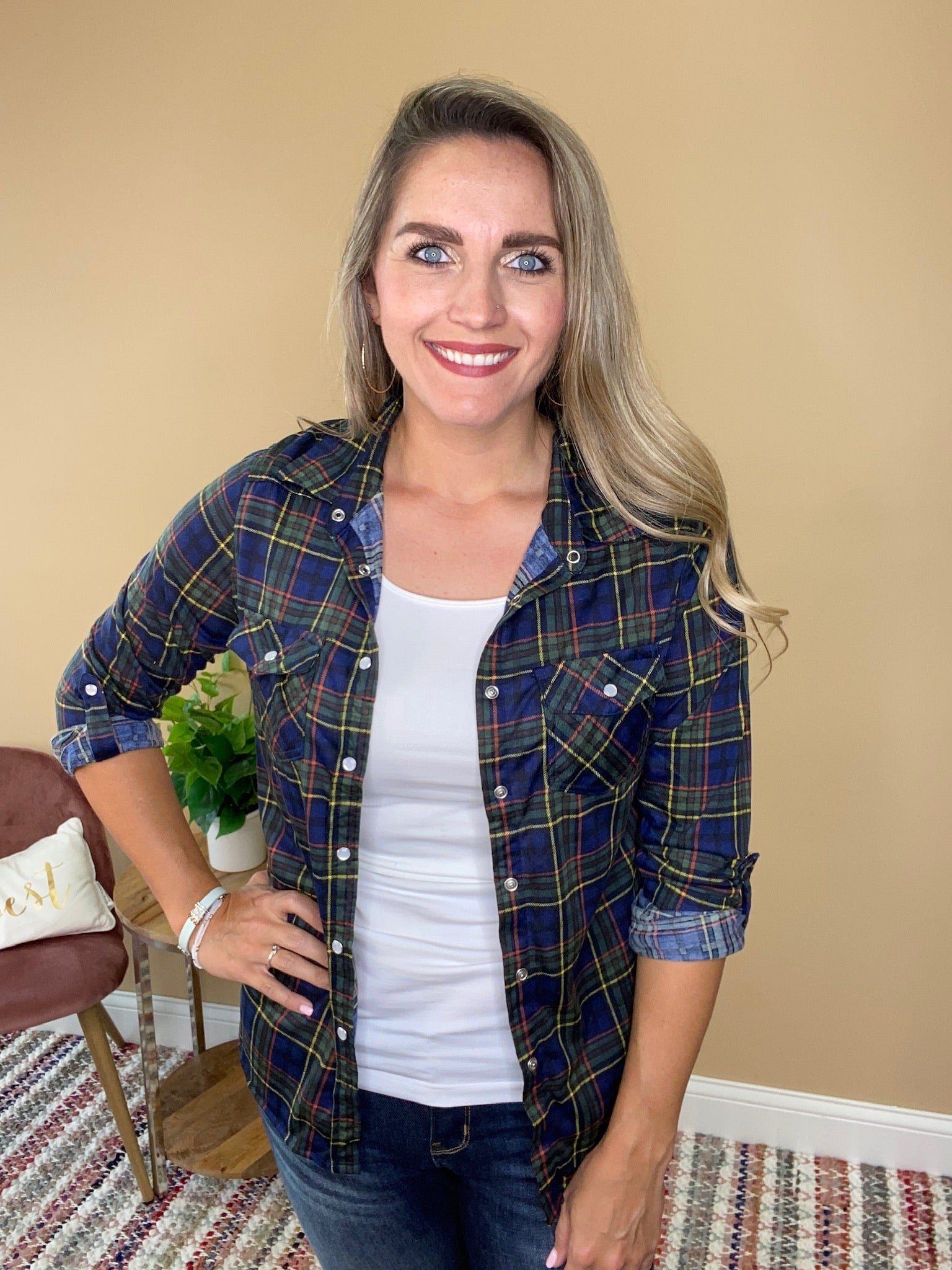 Autumn Plaid Button Up - Navy/Yellow
