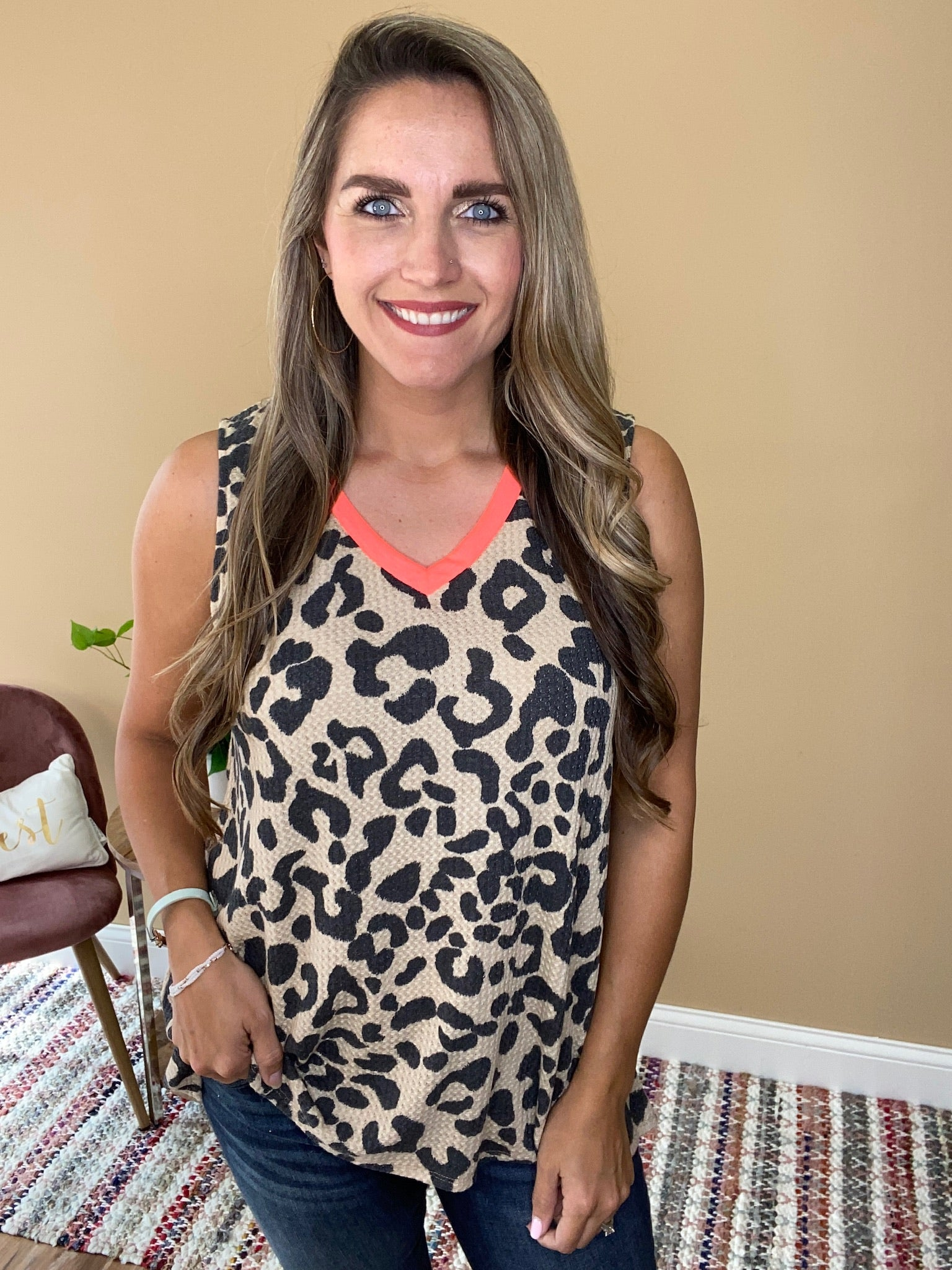 Leopard Thermal Waffle Sleeveles Top