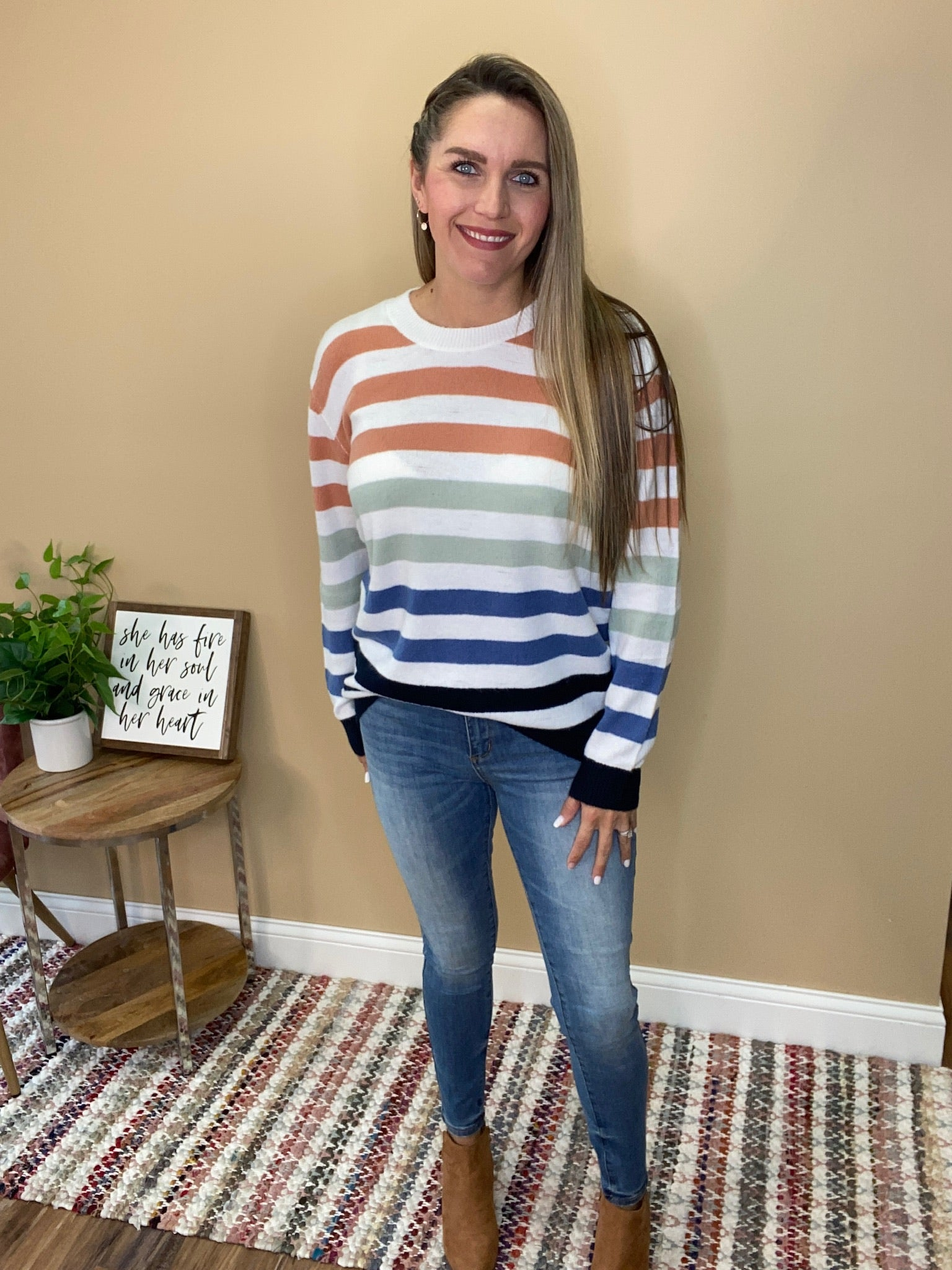 Elena Multi Colored Striped Sweater