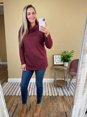 Brushed Ripped Cowl Neck Sweater