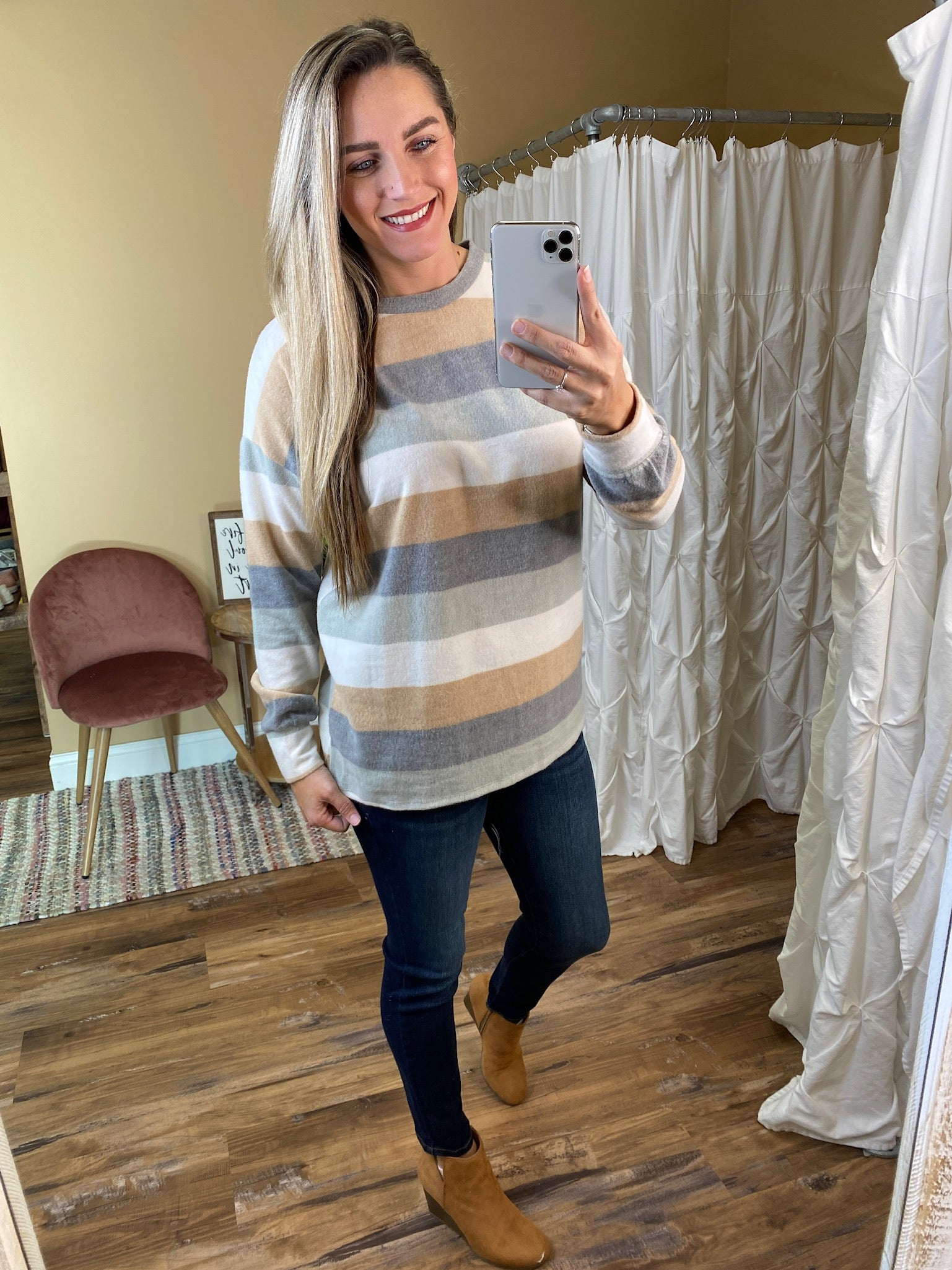 Delanie Brushed Striped Top