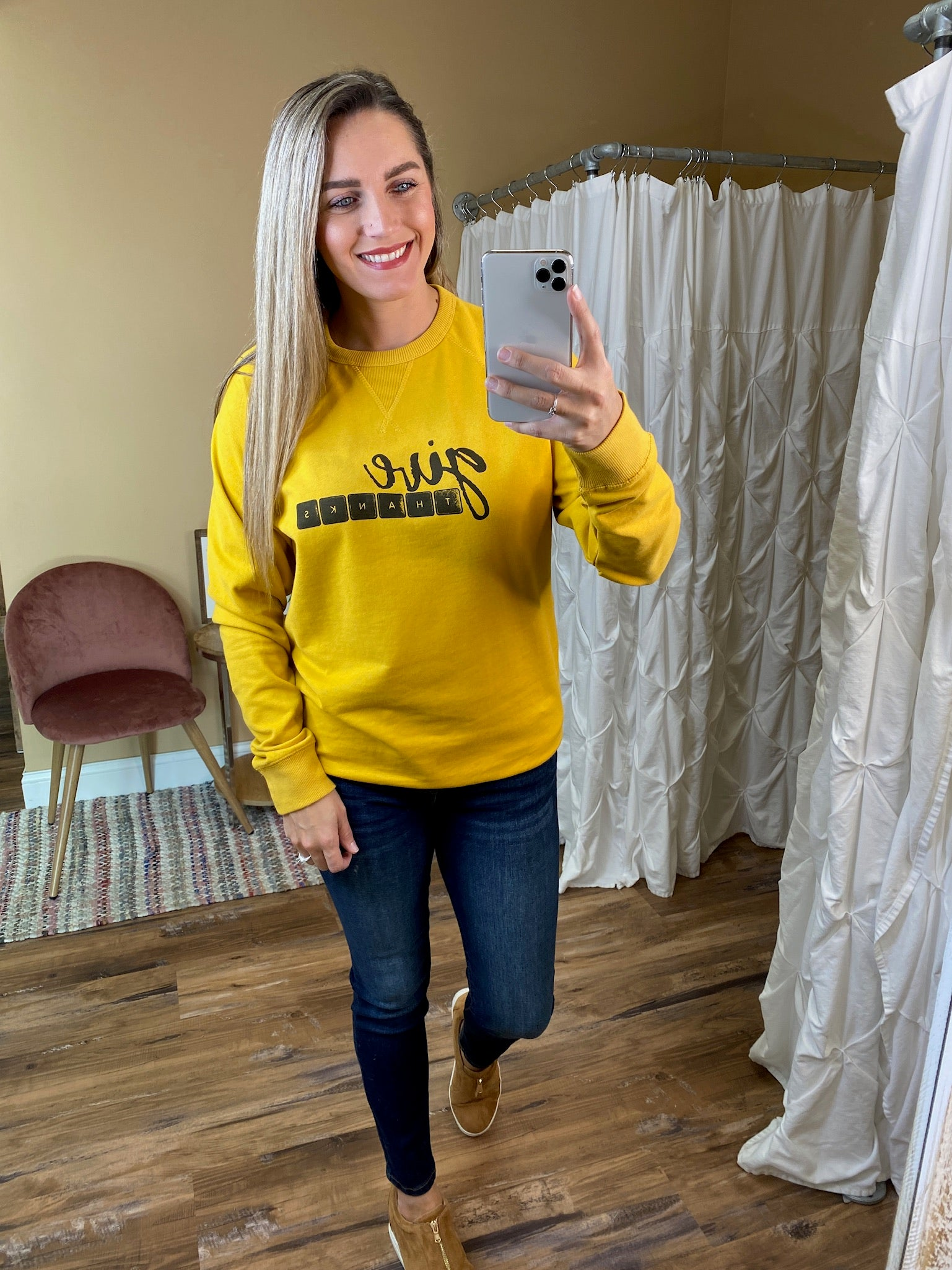Give Thanks French Terry Raglan Sweatshirts - Mustard
