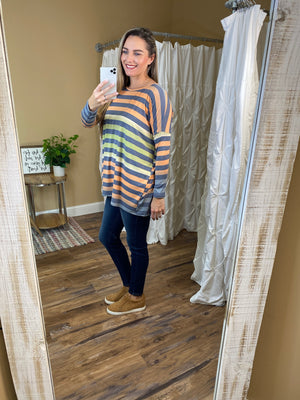 Lacey Oversized Striped Dolman Top
