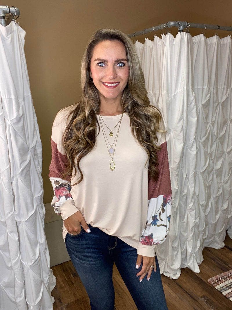 Arianna Long Sleeve Top with Accent Sleeves