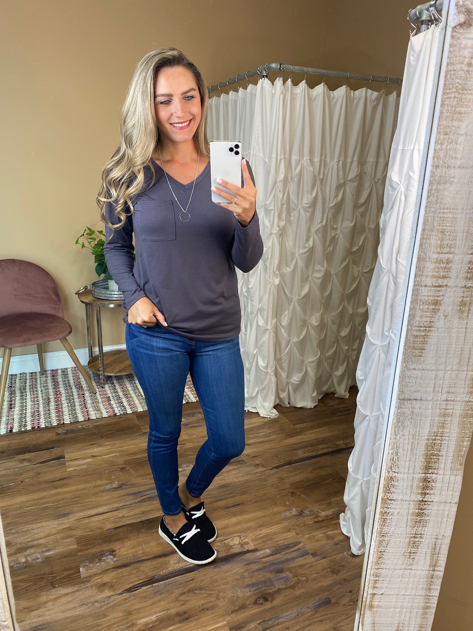 Hadley V-Neck Solid Long Sleeve Top - Grey