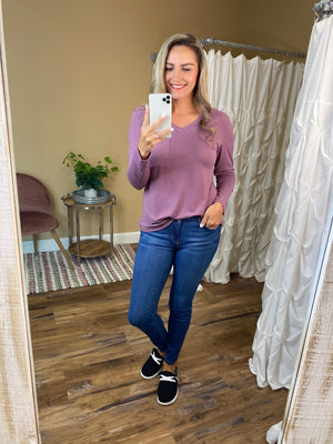 Hadley V-Neck Solid Long Sleeve Top - Eggplant