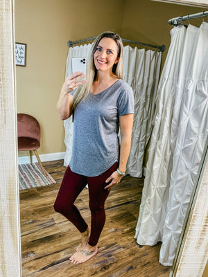 Abigail Solid Colored Athletic Leggings -Burgundy