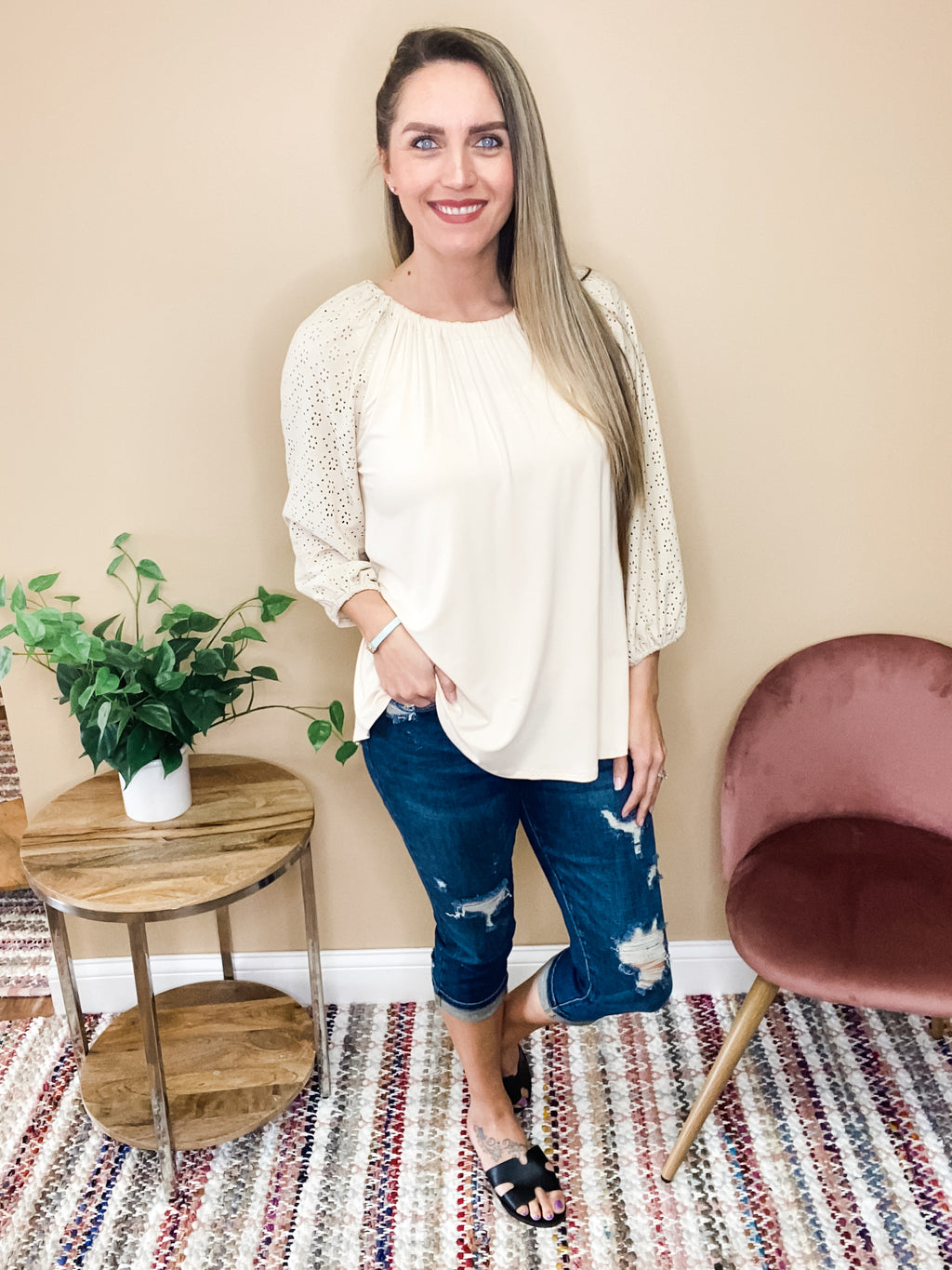 Mira Lace Detailed Raglan Sleeve Top