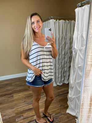 Mariana Striped Knit Tank with V Neck Button