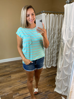 Magnolia Sleeveless Striped Top with Pocket