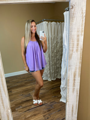 Victoria Pleated Cami Tank Top -  Lavender